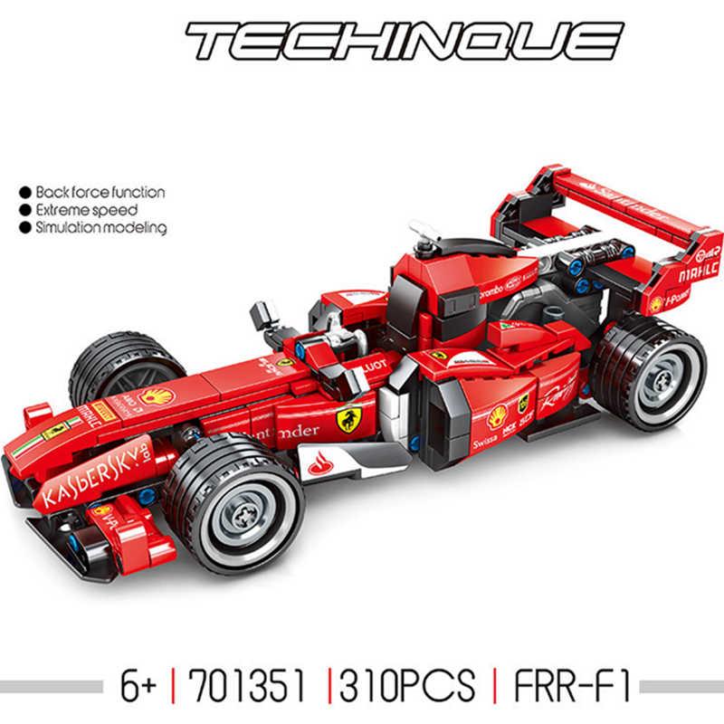 テクニックシリーズ racecar 電気リモート MOC バック力ルマン F1 FFR スーパーレース車のビルディングブロックはキットレンガ互換性