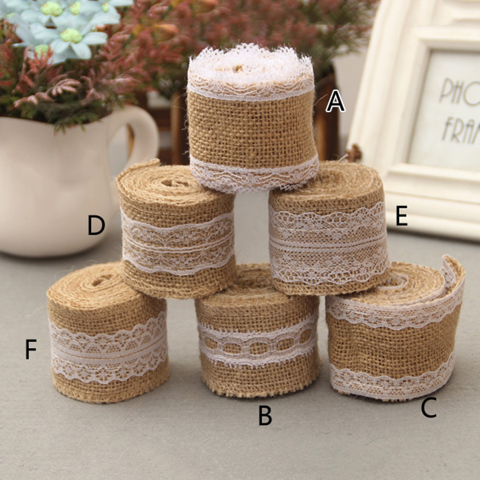 High Quality Wedding Decor Natural Jute Burlap Rustic Hessian Ribbon Tape SPM