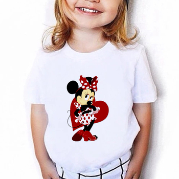 VOGUE Harajuku Minnie nadruk z myszą koszulki letnie na co dzień słodkie dzieci krótkie-koszulki z rękawami t-shirt dla dzieci dziewczyna najlepsze ubrania dla dzieci tanie i dobre opinie Disney COTTON POLIESTER CN (pochodzenie) Drukuj REGULAR Z okrągłym kołnierzykiem tops Z KRÓTKIM RĘKAWEM SHORT Dobrze pasuje do rozmiaru wybierz swój normalny rozmiar