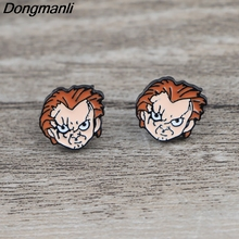 K602 Horror Movie Halloween Jewelry Childs Play Stud Earrings For Womens kids Enamel pierce Gifts for Girls