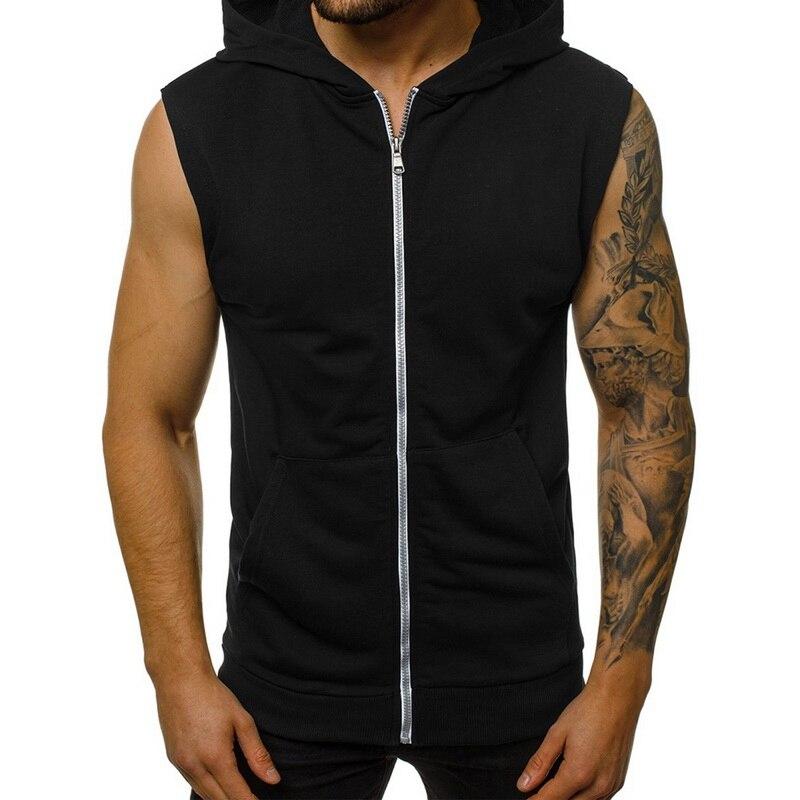 Mens Sport Hoodie Vest Spring Autumn Casual Sleeveless Comfortable VestZip Up Vest Pure Color Zip Up Vest Jacket Coat