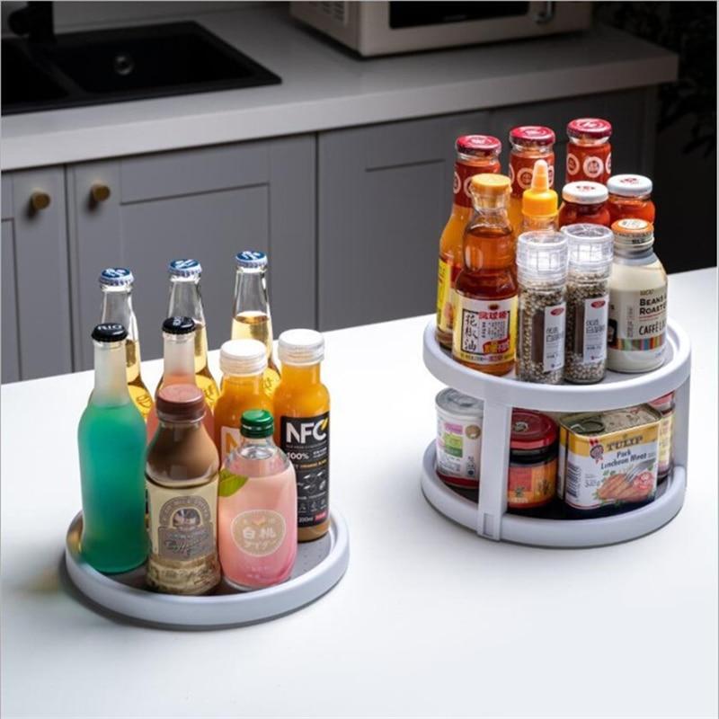 Нескользящая полка для приправ с вращением на 360 градусов, полка для бутылок, угловой кухонный шкаф для хранения косметики, домашний шкаф Органайзер|Лотки для хранения|   | АлиЭкспресс