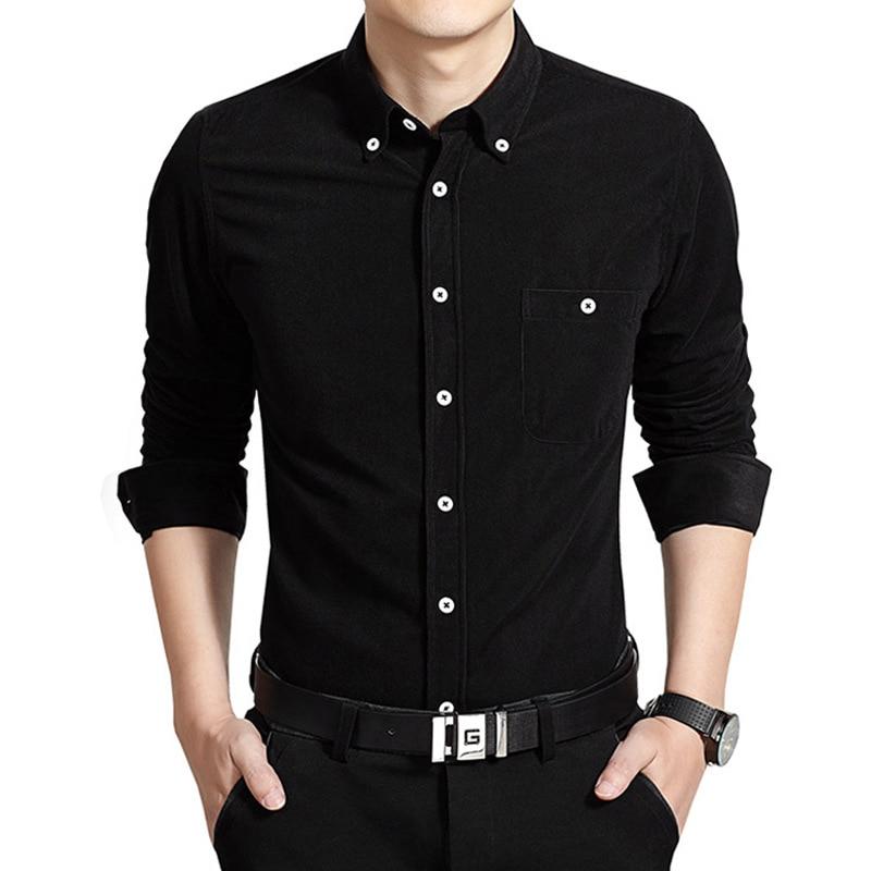 2019 Autumn New Style Men's Corduroy Long-sleeved Shirt Versitile Fashion Casual Solid Color V Neck Shirt Base Shirt