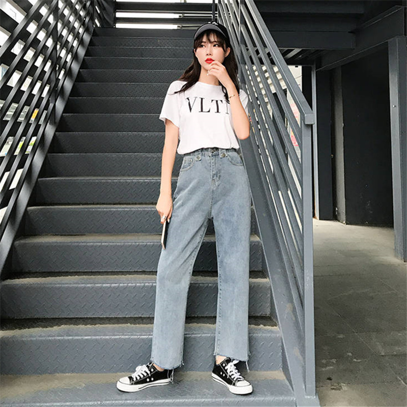 2019 New Jeans For Women Woman Blue Casual Denim Straigh Pants Stretch Waist Mom Black Women Jeans Pants
