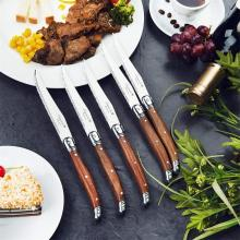 Laguiole Steak knives Table Knife for Meat  Wood Handle Japanese Dinnerware set Stainless Steel Kitchen Cutlery 9'' 23cm 6-10pcs