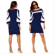 navy blue Summer Women Dress Cold Shoulder O-Neck 3/4 Sleeve Elegant Lady Dresses  Casual Bodycon Dress Plus Size XXL boho beach цена 2017