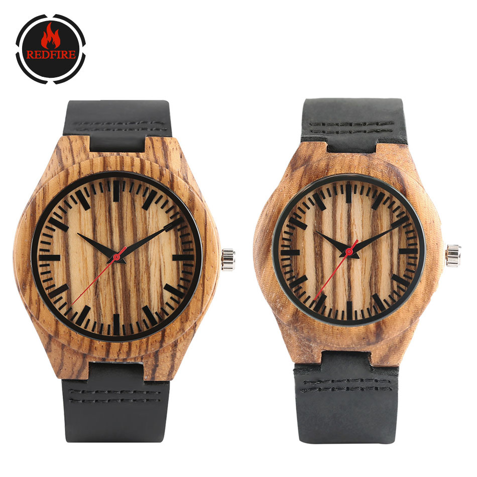 REDFIRE Zebrawood Red Second Couple Watch Wooden Clock Quartz Black Genuine Leather Lovers Casual Wristwatches Reloj De Pareja