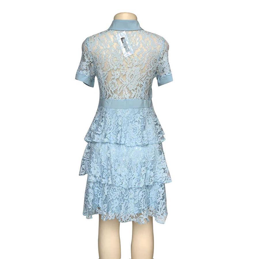 GuyuEra Европа и США Горячая кружевная рубашка воротник деревянный уха талии слово торт с коротким рукавом платье подарочная брошка