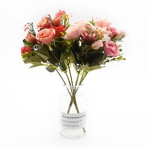 Image 3 - 13 kafaları ipek gül gelin buketi düğün noel ev dekorasyon için vazo süs saksı yapay çiçekler scrapbooking