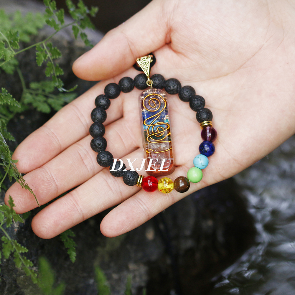 DXJEL 7 Chakra Orgone Energy Healing Pendant with Bracelet Rainbow Crystal Meditation Necklace Resin Jewelry For Women Men Gifts