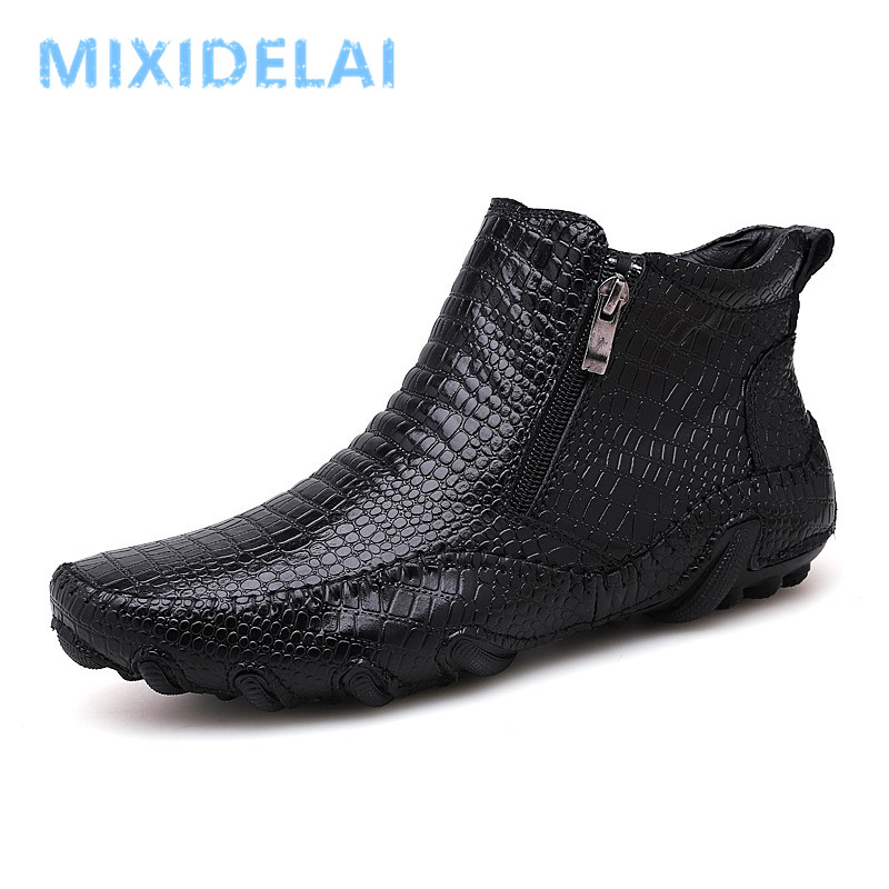 New Men Spring/Winter Warm Plush Boots Handmade Men Shoes Split Leather Outdoor Sneakers Non-slip Men's Work Shoes Ankle Boots