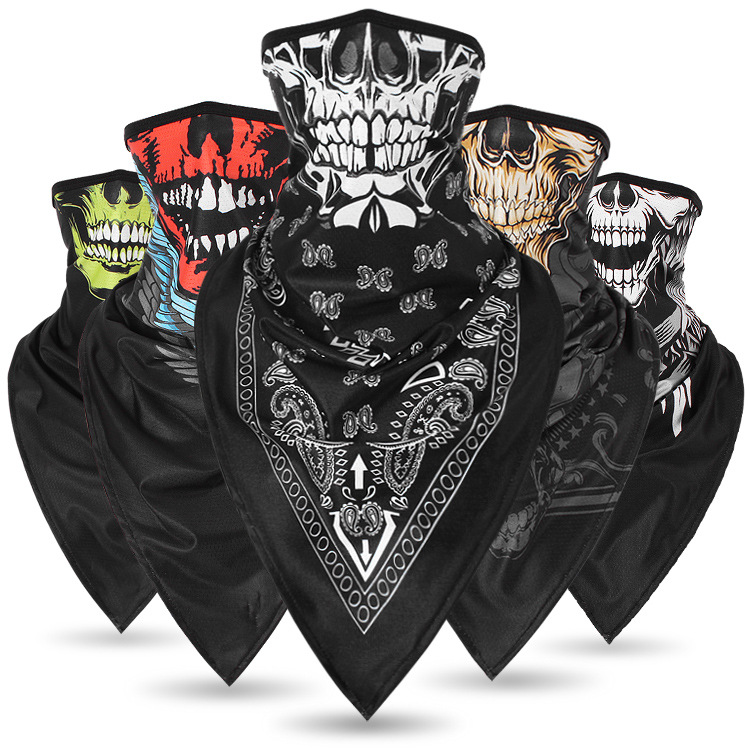 Riding Mask Quick-Drying Breathable Skull Mask Bicycle Mask Triangle Scarf Neck Cover Riding Windproof Sunscreen