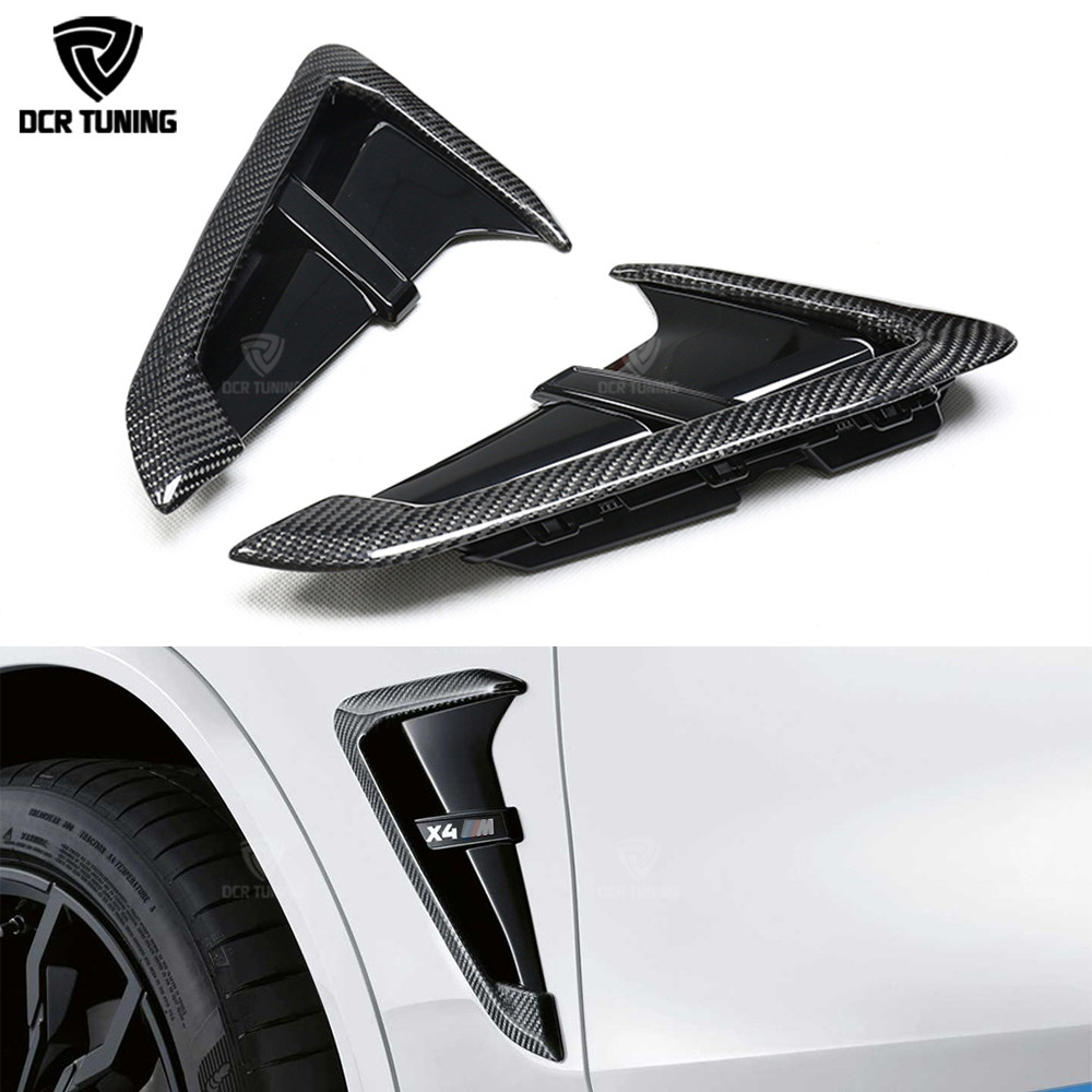 X3M / X4M Style Carbon Side Fender Air wing Vent Trim For <font><b>BMW</b></font> X Series <font><b>X3</b></font> <font><b>G01</b></font> X4 G02 Carbon Fiber Fender Light Trim 2019 - UP image