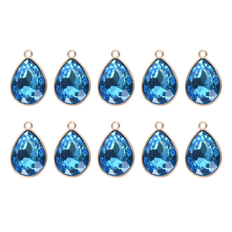 10pcs Crystal Rhinestone Pendant Charms for DIY Necklace Jewelry Crafts Blue