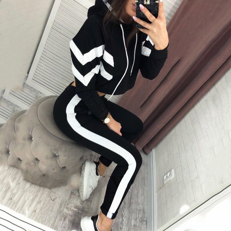Meihuida Autumn Spring 2 Piece Set Women Casual Long Sleeve Crop Top Short Hoodies Pant Clothing Set Tracksuit