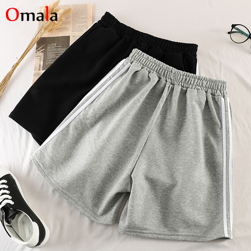 Summer Stripe Thin Shorts Women 100% Cotton Shorts Trousers Feminino Women's Elastic Wasit Home Loose Casual Shorts With Pocket