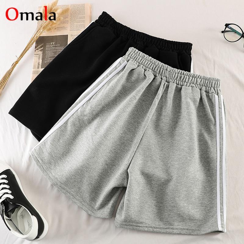 Summer Stripe Thin Shorts Women 100% Cotton Shorts Trousers Feminino Women's Elastic Wasit Home Loose Casual Shorts With Pocket