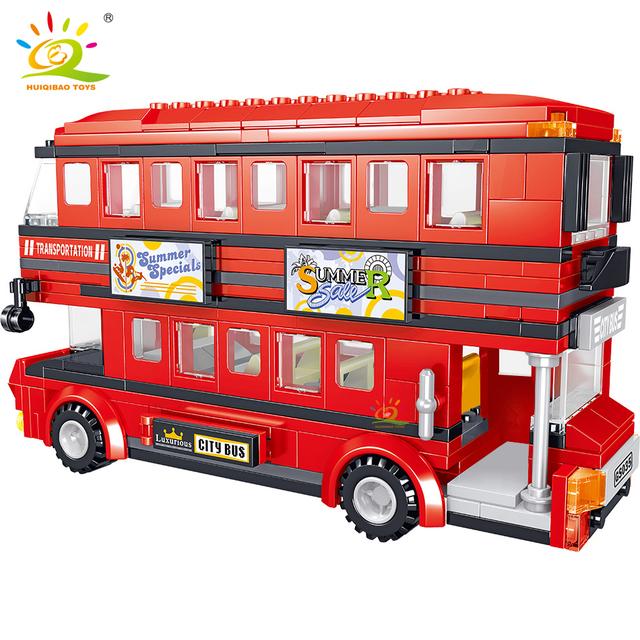 HUIQIBAO Double decker Sightseeing bus Building Blocks City street Car truck Bricks Construction Toy For Children friends gift