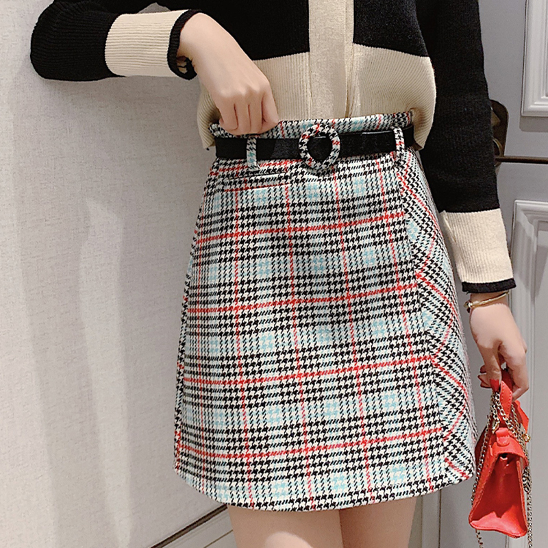 Houndstooth Plaid Mini Skirts Autumn Winter Wool Skirts Women With Belt Vintage Pencil Skirt Plus Size A-Line Zipper Shorts W362