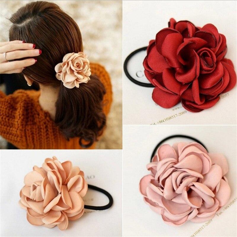 1 Pc Women Girls Fashion Korean Style Big Rose Flower Hair Band Ponytail Holder Hair Rope Ties Ladies Fashion Hair Accessories
