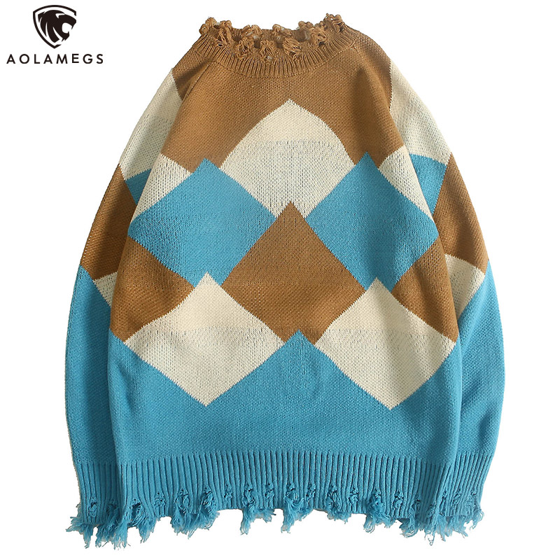 Aolamegs Sweater Men Big Plaid Color Block Mens Pullover Broken O-neck Tops Simple Style Knitted Advanced Autumn Streetwear
