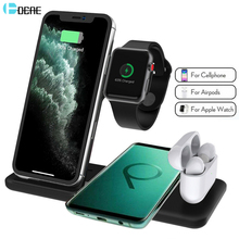 15W Wireless Charger Stand for iPhone 11 XS XR X 8 AirPods Pro Apple Watch 5 4 3 4 In 1 Charging Dock Station For Samsung S10 S9