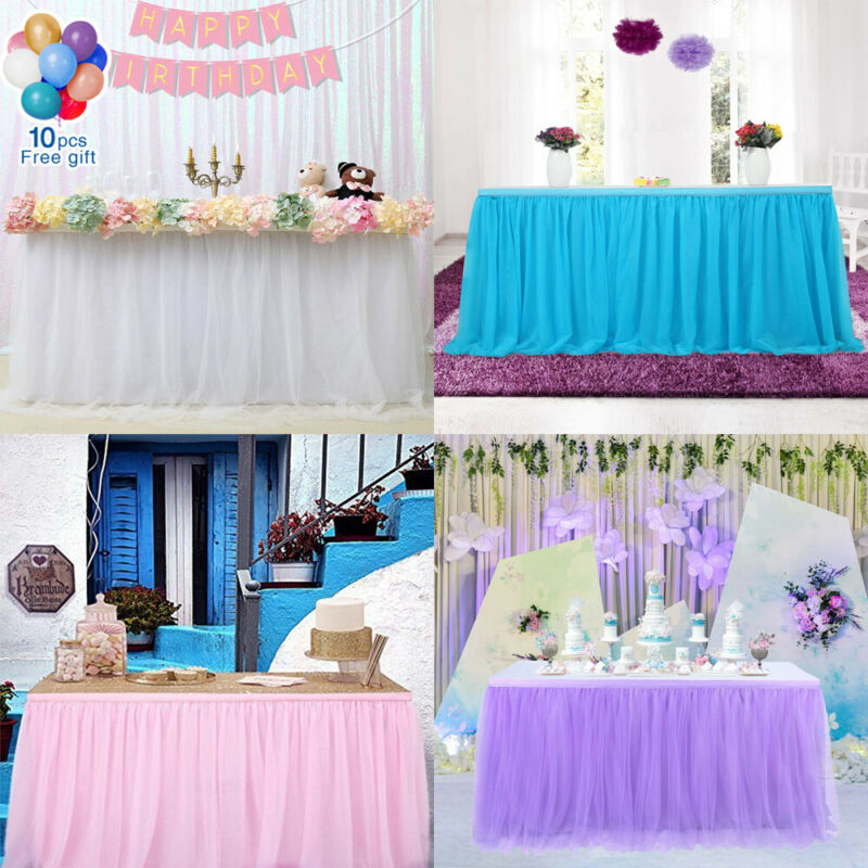2020 Tulle Table Skirt Cover Birthday Wedding Festive Party Decor Table Cloth