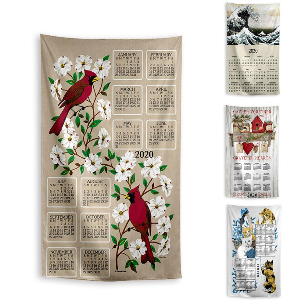 Calendar Animals Flowers Pattern Fabric Calendar In Home Garden Wall Hanging Decoration Schedule Background Gift For Friends