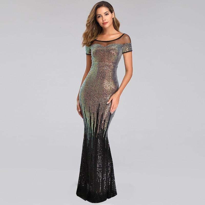 YIDINGZS Elegant Backless Long Evening Dresses Simple Black Sequins Evening Party Dress YD100 5