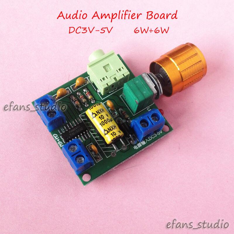 Mini Digital PAM8406 DC 3V-5V Class D Dual Channel 6W+6W Stereo Audio Power Amplifier Board