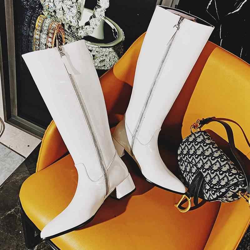 Superstar patent deri sivri burun med topuklar kadın diz yüksek çizmeler sıcak zarif parti uyluk yüksek çizmeler katı kış ayakkabı l31