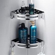 Estantería en acero inoxidable para el baño, estante de almacenamiento con diseño para esquina o rectangular con montaje en la pared con adhesivo