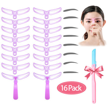 8Pcs/Set Brow Stencils Reusable Eyebrow Shaping Defining Stencils Eye Brow Drawing Guide Template Makeup Tool send eyebrow knife