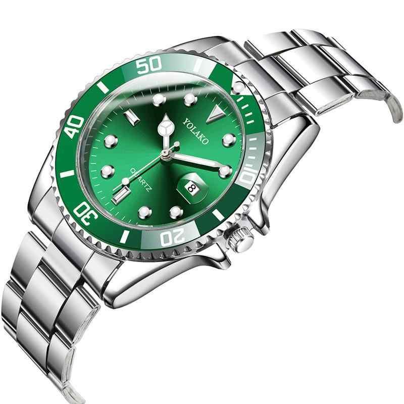 メンズ腕時計新高級ビジネス腕時計メンズ防水日付グリーンダイヤル腕時計ファッション男性時計腕時計レロジオ masculino