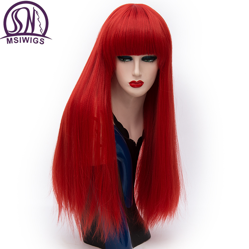 MSIWIGS Long Straight Bangs Red Wigs Synthetic Natural Heat Resistant Fiber Hair White Purple Green Brown Cosplay Wig FemaleSynthetic None-Lace  Wigs   -