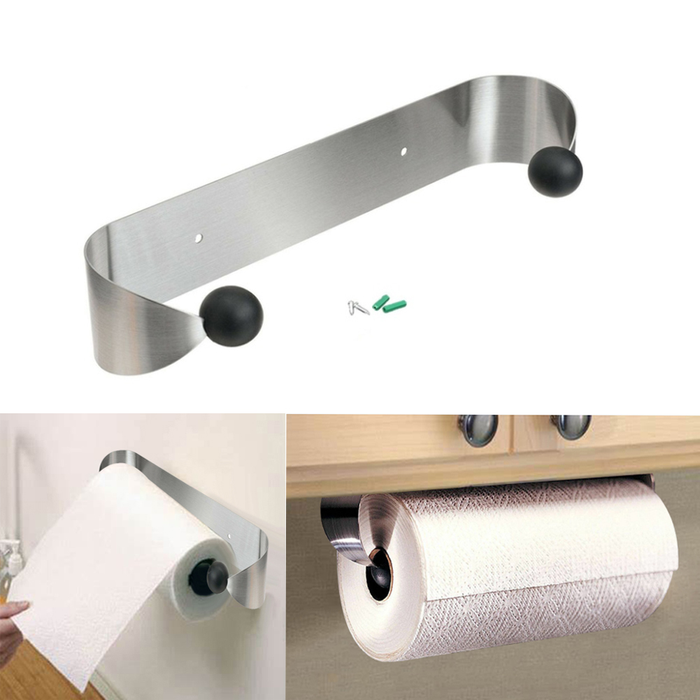 Wall Mounted Stainless Steel Paper Towel Holder Roll Organizer For Kitchen Bathroom