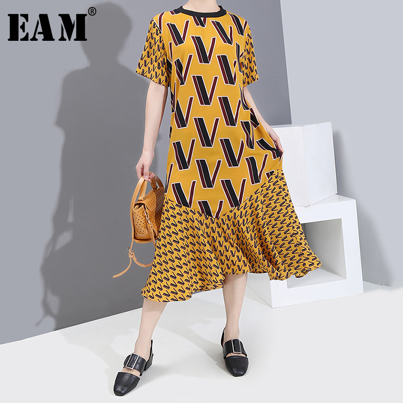 [EAM] Women Yellow Pattern Printed Temperament Dress New Round Neck Short Sleeve Loose Fit Fashion Tide Spring Sumemr 2020 1S539