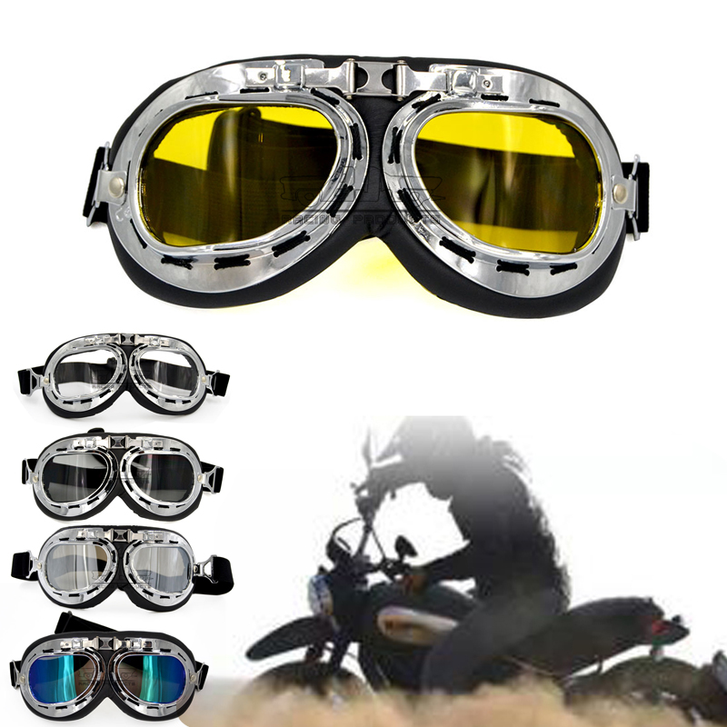 Motorcycle Goggles Glasses Motorbike Pilot Vintage ATV Biker Scooter Cruiser Helmet Cycling Ski Retro Sunglasses UV Protection