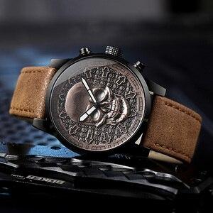 Image 4 - IBSO Brand Vintage Bronze Skull Watch for Men Creative Skull Sport Quartz Hours Male Wristwatch Clocks Hiphop relogios masculino