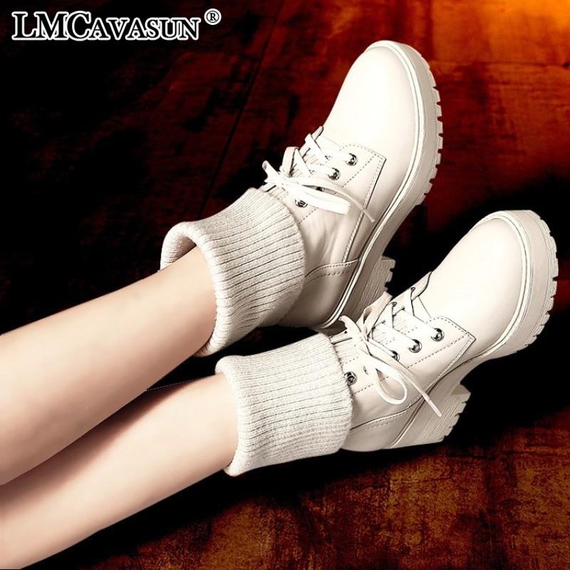 LMCAVASUN/зимние женские сапоги-носки из искусственной кожи; ботильоны; женские резиновые сапоги на платформе и высоком каблуке