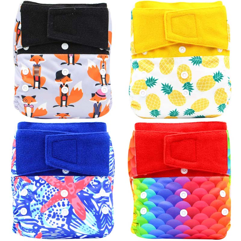 Cloth Baby Diapers Reusable Nappies Cover OS Fits Newborn To Potty Training Hook Loop Washable Eco-friendly Cloth Diaper Pocket