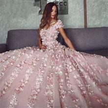 Розовые платья Дубая с 3d цветами для quinceanera 2021 шикарные