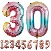 Креативных 32-дюймовый платье для девочек на день рождения с цифрами шар градиент Цвет Крест из розового золота границы Aliexpress Amazon Свадебный декор