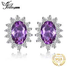 Fashion 2.5ct Alexandrite Sapphire Stud Earrings Princess Diana William Engagement Wedding Solid 925 Sterling Silver Gift Women