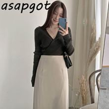 Asapgot Autumn Wild Simple Solid V Neck Long Sleeve Knitted Sweaters Slim High Waist A Line Skirts OL Fashion Chic Korea 2sets(China)