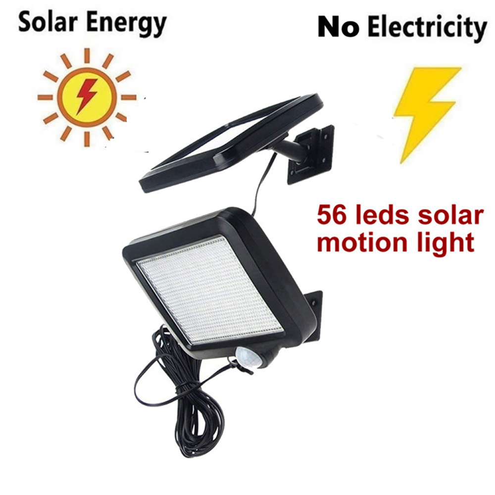56/30 LED Solar Power Lamp PIR Motion Sensor Solar Garden Lights Outdoor Waterproof Energy Saving Wall Yard Lamps Split Mount 5M