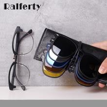 Ralferty Magnet Sunglasses Men Women 2020 Luxury Brand Male Polarized UV400 High Quality 5 in 1 Clip On Grade Glasses Frame