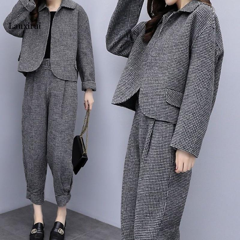 Autumn/Winter Women Casual Cashmere Wool 2 Piece Set Long Sleeve Knitted Pullover Sweater Houndstooth Jumper Knitted Pants