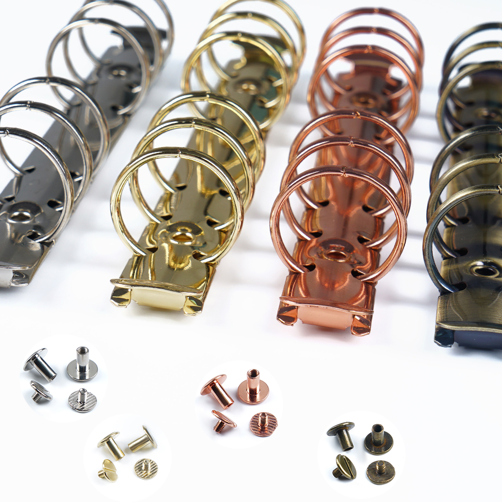 Brass Metal Spiral Rings Binder Clip With 2 Pairs Of Screw For Diary Notebook Planner A5 A6 A7 Binder Clip File Folder