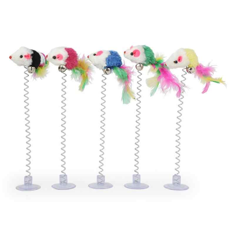 Dropship 재미있는 탄성 컬러 마우스와 깃털 하단 빨판 애완 동물 고양이 장난감 애완 동물 용품 색상은 무작위로